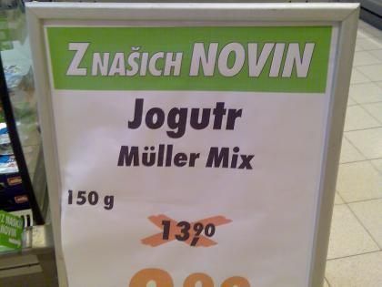 Nápis v jednom supermarketu